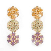 0.28Ctw Peridot Citrine & Amethyst Gemstone 10K Yellow Gold Earrings