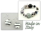 Italian Venetian Murano Jewelry Set: Stretch Bracelet & Drop Earrings - Black & White