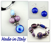 Italian Venetian Murano Jewelry Set: Necklace, Bracelet & Earrings