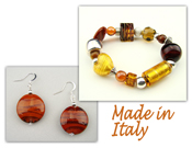 Italian Venetian Murano Jewelry Set: Stretch Bracelet & Drop Earrings - Gold