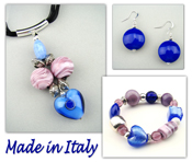 Italian Venetian Murano Jewelry Set: Heart Necklace, Bracelet And Earrings - Blue