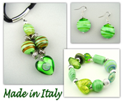 Italian Venetian Murano Jewelry Set: Heart Necklace, Bracelet And Earrings - Green