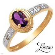0.51Ctw Diamond & Purple Amethyst Gemstone 10K Yellow Gold Ring Sz6.75