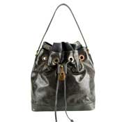 Popcorn Milano Italian Taupe Leather Drawstring Shoulder Bag