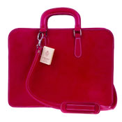 Medichi Italian Made Vegetable Tanned Calfskin Leather Women's Briefcase in Magenta Red