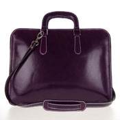 Medichi Italian Made Vegetable Tanned Calfskin Leather Women's Briefcase in Purple