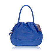 Cosette Italian Made Buttersoft Blue Leather Designer Drawstring Bag