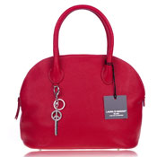 Laura Di Maggio Italian Made Red Pebbled Leather Bowler Tote Bag