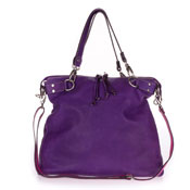 Cavalcanti Italian Purple Calf Leather Designer Tote Handbag
