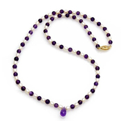22.8Ctw Genuine Amethyst & Pearl 14K Yellow Gold Gemstone 18