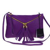 Laura Di Maggio Italian Made Purple Leather Crossbody Bag Wristlet
