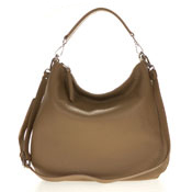 Gianni Chiarini Italian Made Taupe Brown Pebbled Leather Oversize Slouchy Hobo Bag