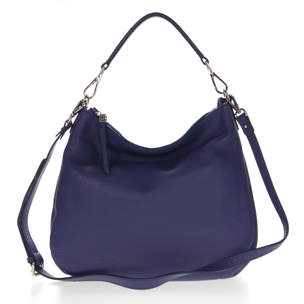 ... Chiarini Italian Made Royal Blue Pebbled Leather Slouchy Hobo Bag