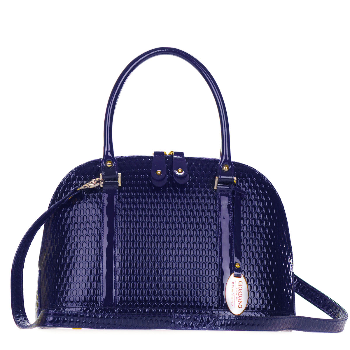 Giordano Italian Made Dark Navy Blue Patent Embossed Leather Structured Tote Handbag