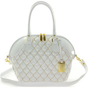 Giordano Italian Made Tote Handbag in White Patent Quilted Leather with Gold Stitching