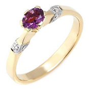 Diamond & 0.28Ctw Purple Amethyst Solid 14K Yellow Gold Ring Sz6.75