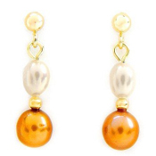 Freshwater Yellow & White Pearl Solid 14K Yellow Gold Dangle Earrings