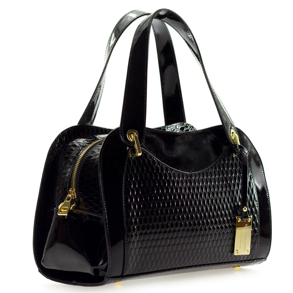 81c01fb7d5 Giordano Italian Made Black Patent Embossed Leather Satchel Handbag