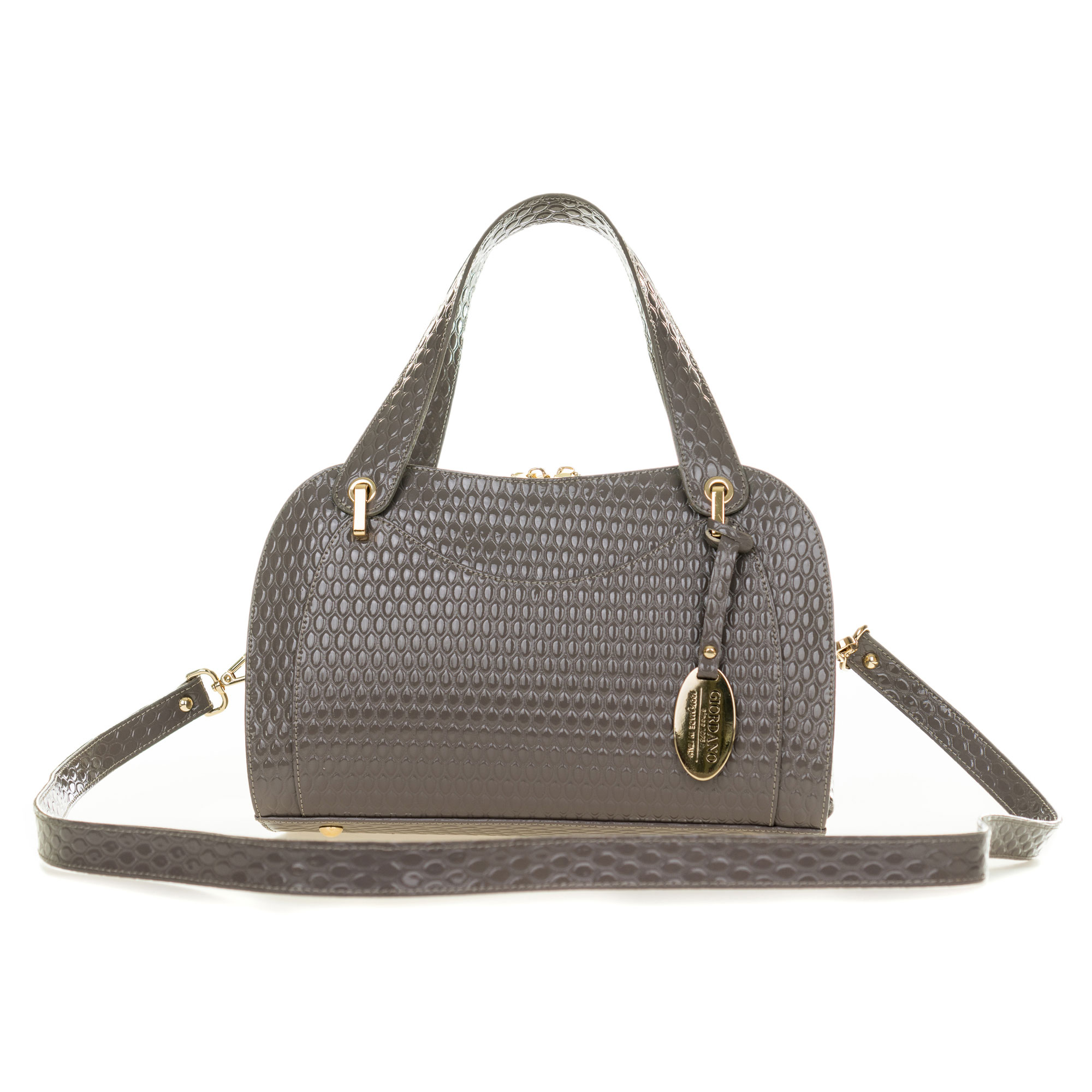 Taupe Gray Patent Embossed Leather Satchel Handbag Made in ...