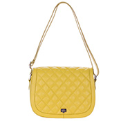 Giordano Italian Made Quilted Yellow Leather Messenger Shoulder Bag