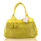Lazetti Italian Made Yellow Lime Perforated Leather Designer Tote Handbag