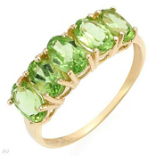 5/2.50Ctw Genuine Green Peridot 10K Yellow Gold Gemstone Ring Sz7