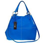 Asia Bellucci Italian Made Blue Leather Oversized Shopper Tote
