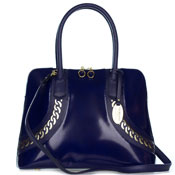 Giordano Italian Made Dark Blue Glazed Leather Tote Handbag with Gold Chain Detail
