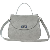 Giordano Italian Made Gray Floral Embossed Leather Handbag