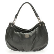Medichi Italian Made Gray Leather Slouchy Shoulder Hobo Bag