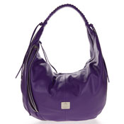 Medichi Italian Made Purple Leather Zip Front Pocket Large Hobo Bag