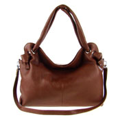 Italian Made Brown Leather Large Carryall Tote Bag By M.A.P. Italy