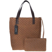 Carol J. Italian Made Brown Woven Embossed Leather Tote With Pouch