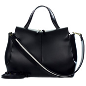 Gianni Chiarini Italian Made Black Leather Structured Tote Bag