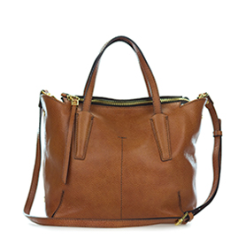 Gianni Chiarini Italian Made Cognac Brown Pebbled Leather Slouchy Tote Bag