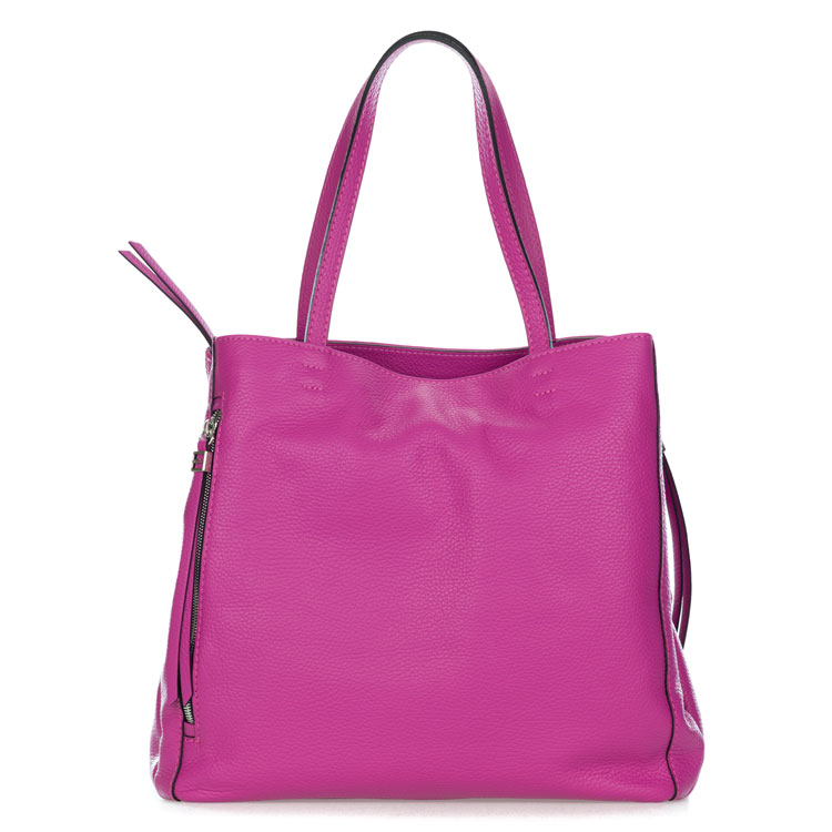 Gianni Chiarini Italian Made Magenta Pebbled Leather Large Carryall Tote Bag with Pockets