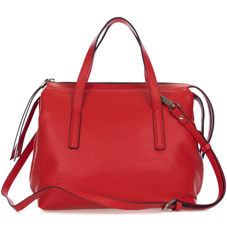 Gianni Chiarini Italian Made Red Pebbled Leather Carryall Tote Bag