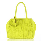 Paolo Masi Italian Made Lemon Yellow Wrinkled Panel Lamb Leather Designer Handbag