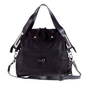 Megghi Italian Designer Black Leather Large Tote Handbag