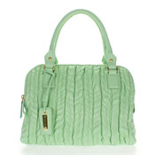 Paolo Masi Italian Made Mint Green Quilted Lamb Leather Designer Tote Handbag Purse