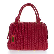 Paolo Masi Italian Made Red Quilted Lamb Leather Designer Tote Handbag Purse