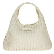 Paolo Masi Italian Made Cream Hand Woven Leather Purse Handbag