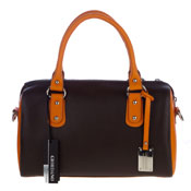 Giordano Italian Made Brown & Orange Leather Designer Satchel