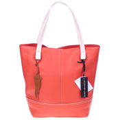 Roberta Gandolfi Italian Made Salmon Orange Pebbled Leather Tote Handbag