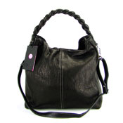 IO Pelle Italian Designer Black Leather Handbag Hobo Bag With Pouch