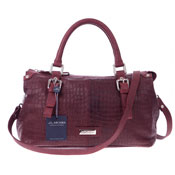 Arcadia Italian Made Bordeaux Leather Satchel Handbag