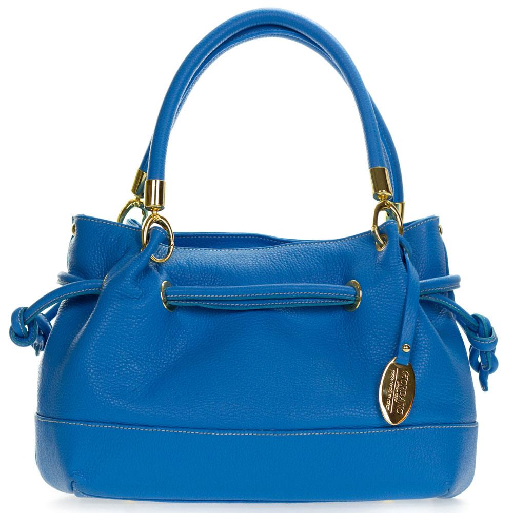 Giordano Italian Made Blue Leather Drawstring Satchel Handbag