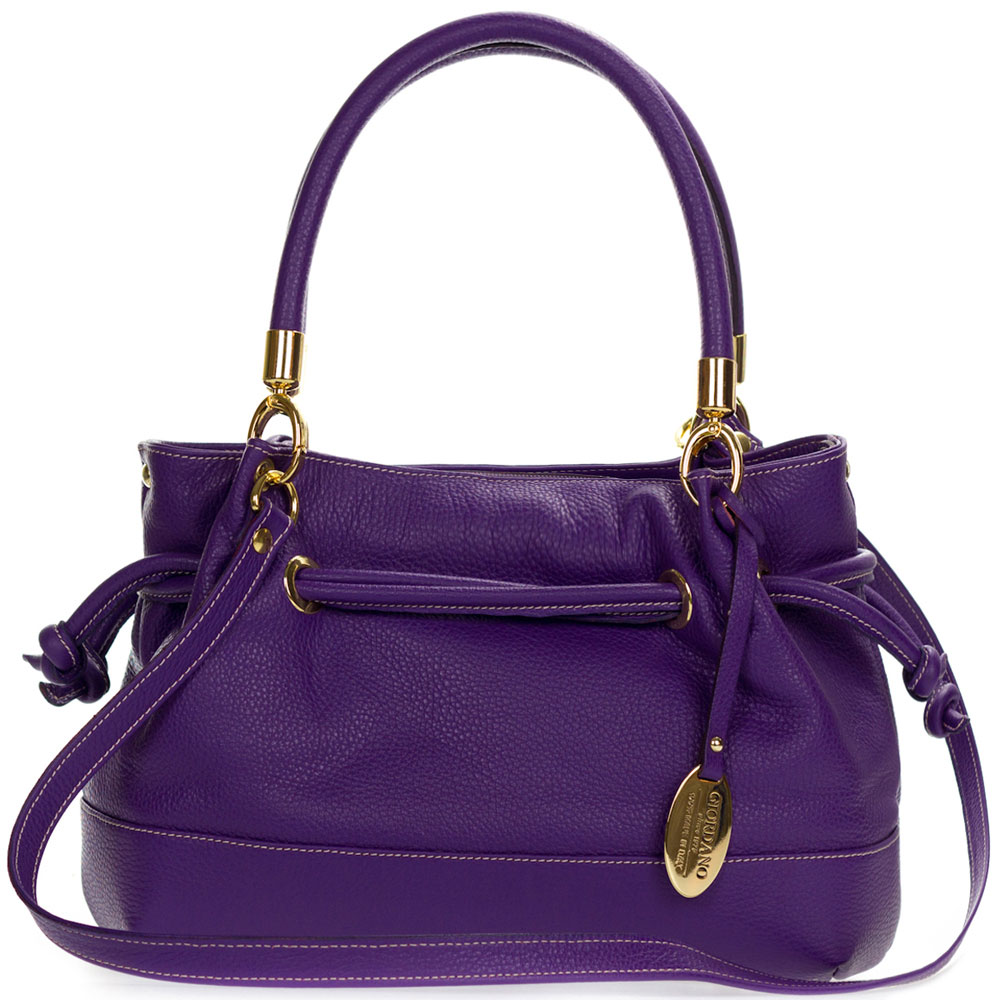 Giordano Italian Made Purple Leather Drawstring Satchel Handbag