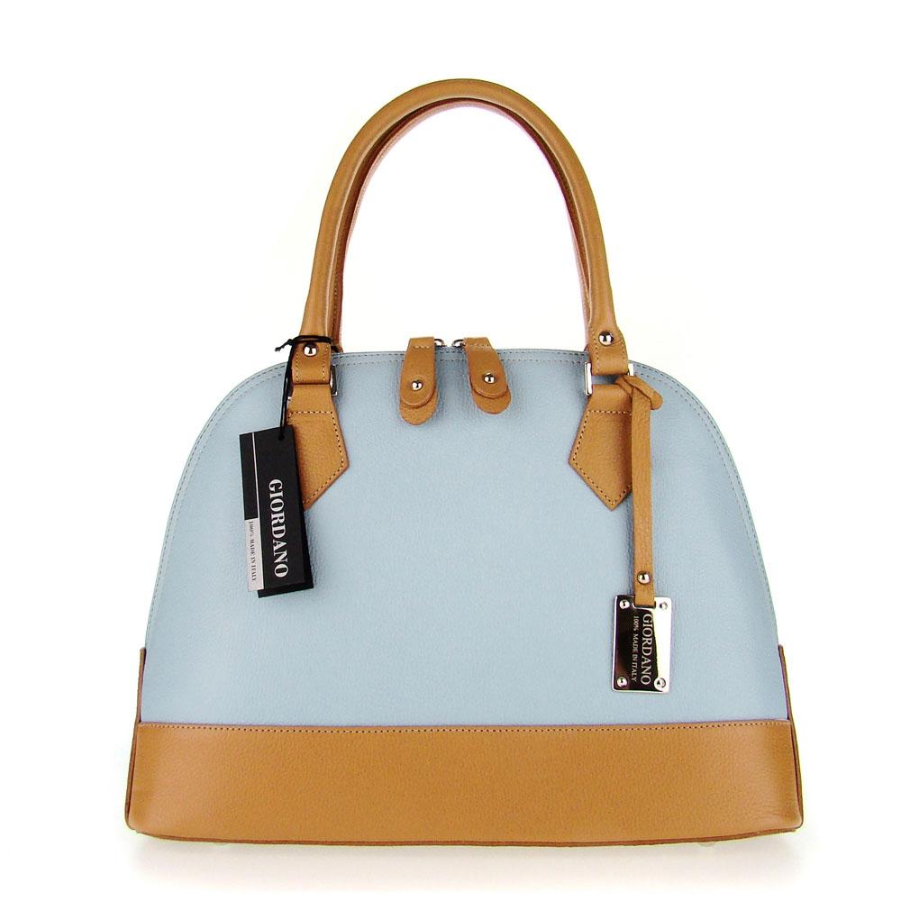 ... Italian Made Light Blue  Tan Leather Structured Designer Tote Handbag