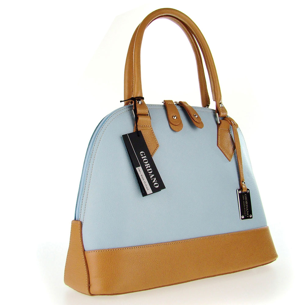 ... Italian Made Light Blue  Tan Leather Structured Designer Tote Handbag